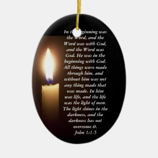 In the beginning was the Word... Double-Sided Oval Ceramic Christmas Ornament