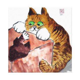 In the Box - Cat and Kitten Play Canvas Prints
