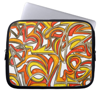 In The Bush - Abstract Art Hand Painted Laptop Sleeve