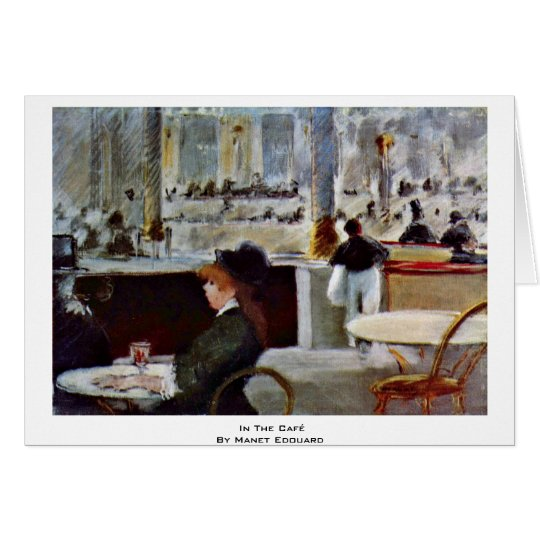 In The Café By Manet Edouard Card