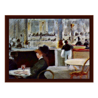 In The Café By Manet Edouard Postcard