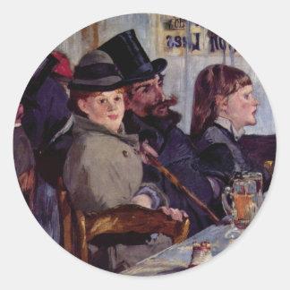 In the cafe: From cabaret Reichshoffen - Manet Classic Round Sticker