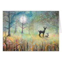 In the Clearing Deer and Rabbit Art Card