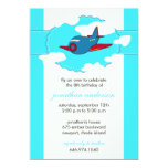 """In the clouds -airplane birthday invitations -1 5"""" x 7"""" invitation card"""