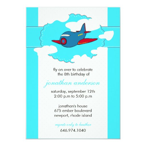 In the clouds -airplane birthday invitations -1