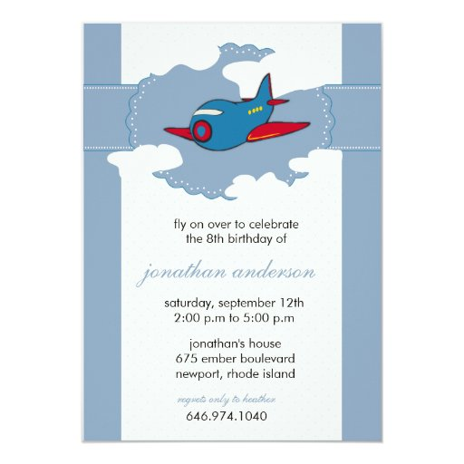 """In the clouds -airplane birthday invitations - 6 5"""" x 7"""" invitation card"""