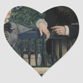 In the Conservatory - 1878 - 1879 by Edouard Manet Heart Sticker