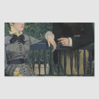 In the Conservatory - 1878 - 1879 by Edouard Manet Rectangular Sticker