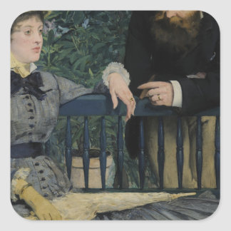 In the Conservatory - 1878 - 1879 by Edouard Manet Square Sticker