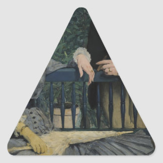 In the Conservatory - 1878 - 1879 by Edouard Manet Triangle Sticker
