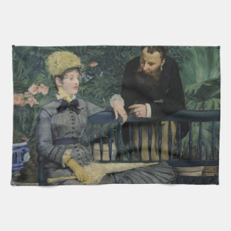 In the Conservatory by Edouard Manet Hand Towel