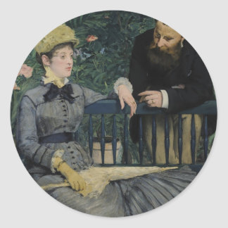 In the Conservatory - Édouard Manet (1879) Classic Round Sticker