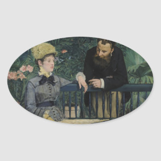 In the Conservatory - Édouard Manet (1879) Oval Sticker