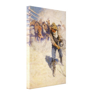 In the Corral by NC Wyeth Vintage Western Cowboys Stretched Canvas Prints