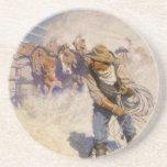 In the Corral by NC Wyeth, Vintage Western Cowboys Beverage Coasters