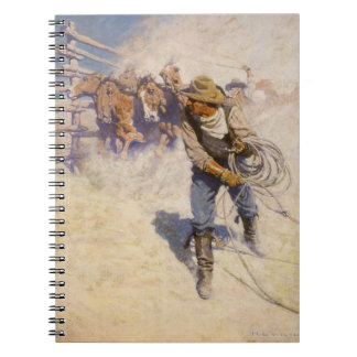 In the Corral by NC Wyeth Vintage Western Cowboys Note Book