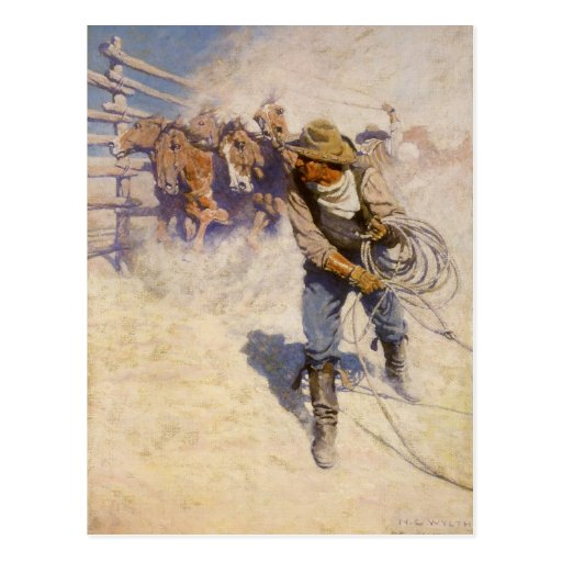 In the Corral by NC Wyeth, Vintage Western Cowboys Postcards