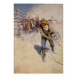 In the Corral by NC Wyeth, Vintage Western Cowboys Poster