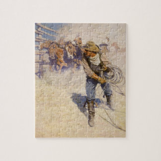In the Corral by NC Wyeth, Vintage Western Cowboys Jigsaw Puzzle