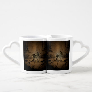 In the dark forest with funny cat coffee mug set