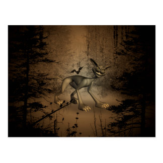 In the dark forest with funny cat postcard