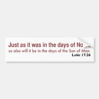 In the Days of Noah (white, version 1) Bumper Sticker