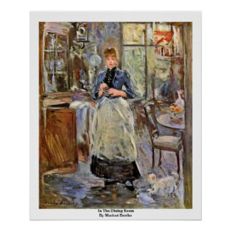 In The Dining Room By Morisot Berthe Poster
