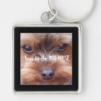 In the Dog House Silver-Colored Square Keychain