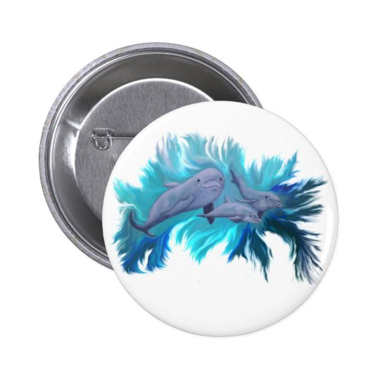 In the dolphin - school pinback button