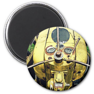 In the Driver's Seat of an Antique Yellow Tractor 2 Inch Round Magnet