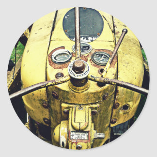 In the Driver's Seat of an Antique Yellow Tractor Classic Round Sticker