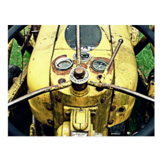 In the Driver's Seat of an Antique Yellow Tractor Postcard