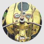 In the Driver's Seat of an Antique Yellow Tractor Sticker