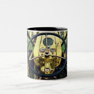 In the Driver's Seat of an Antique Yellow Tractor Two-Tone Coffee Mug
