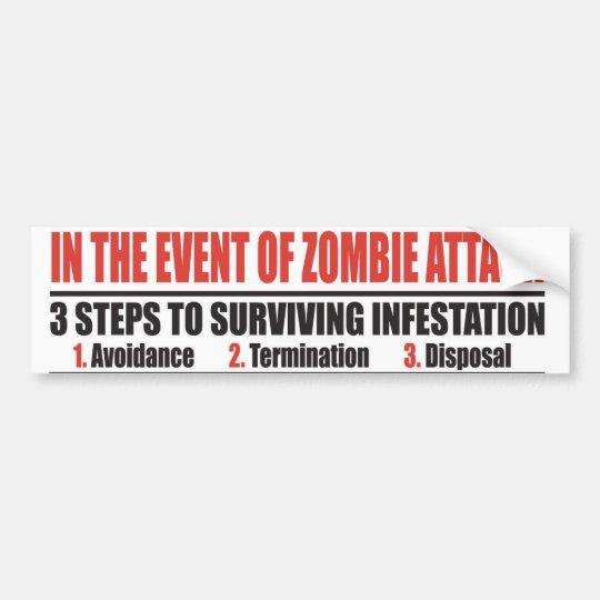 In The Event of Zombie Attack BUMPER STICKER