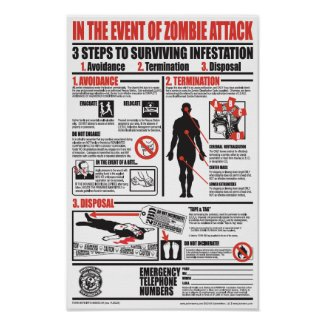 IN THE EVENT OF ZOMBIE ATTACK print