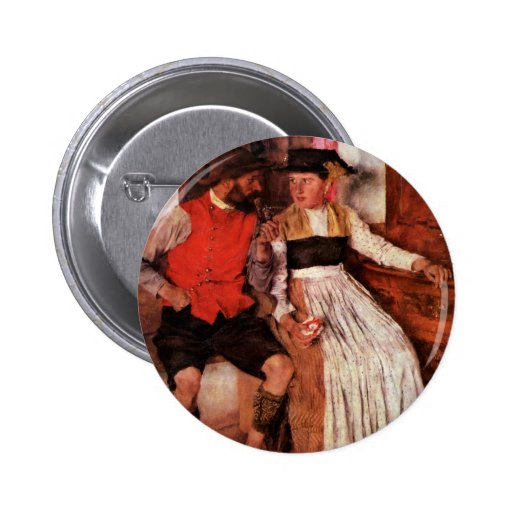 In The Farmhouse Parlor By Leibl Wilhelm Pinback Button