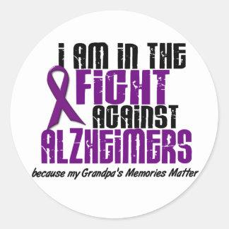 In The Fight Against Alzheimer's Disease GRANDPA Classic Round Sticker