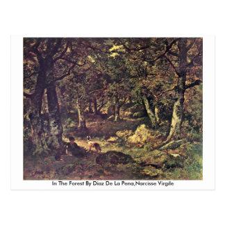 In The Forest By Diaz De La Pe�a,Narcisse Virgile Postcard