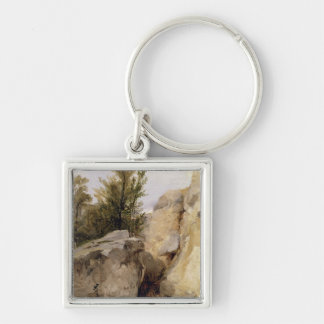 In the Forest of Fontainebleau, c.1825 (oil on can Keychain
