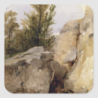 In the Forest of Fontainebleau c 1825 oil on can Sticker