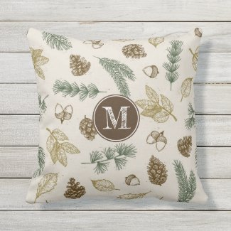 In the forest woodland pattern pinecones monogram outdoor pillow