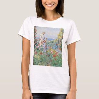 In the Garden by Childe Hassam, Vintage Fine Art T-Shirt