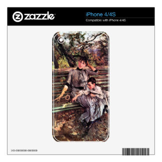 In the garden by Giovanni Boldini Skins For iPhone 4