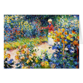 In the Garden Claude Monet woman painting Card