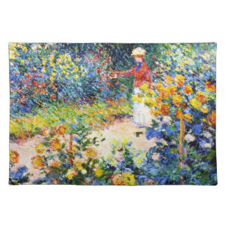 In the Garden Claude Monet woman painting Cloth Placemat