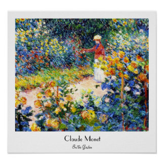 In the Garden Claude Monet woman painting Poster