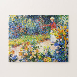 In the Garden Claude Monet woman painting Jigsaw Puzzle