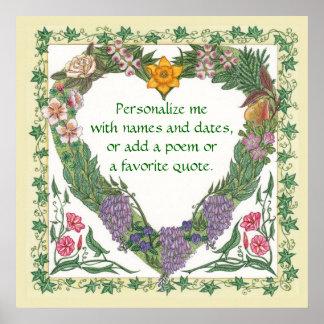 In the Garden Love Wreath Poster