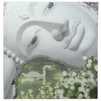 In the Garden - Quan Yin & Flowers Cloth Napkins